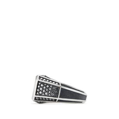 Streamline Pavé Signet Ring with Black Diamonds