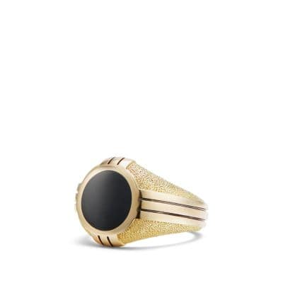 Southwest Signet Ring with Black Onyx in 18K Gold