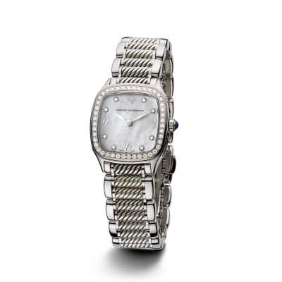Thoroughbred 25mm Stainless Steel and Sterling Silver Quartz Watch with Diamonds