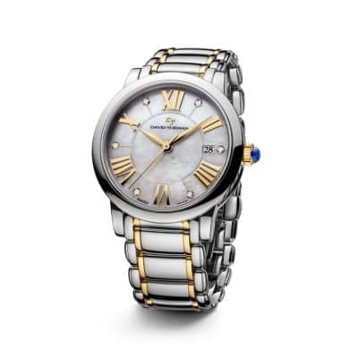 Classic 38mm Stainless Steel and 18K Gold Quartz Watch with Diamond Markers