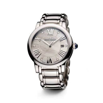 Classic 38mm Stainless Steel Quartz Watch with Diamond Markers