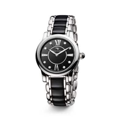 Classic 30mm Quartz Watch with Black Ceramic and Diamonds
