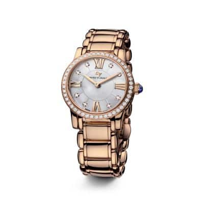 Classic 30mm 18K Rose Gold Quartz Watch with Diamond Bezel
