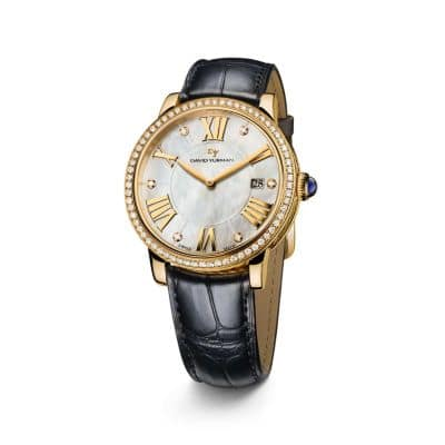Classic 38mm 18K Gold Quartz Watch with Diamond Bezel