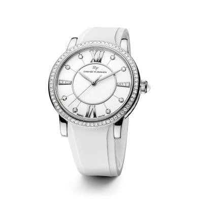 Classic 38mm Rubber Swiss Quartz Watch with Diamonds