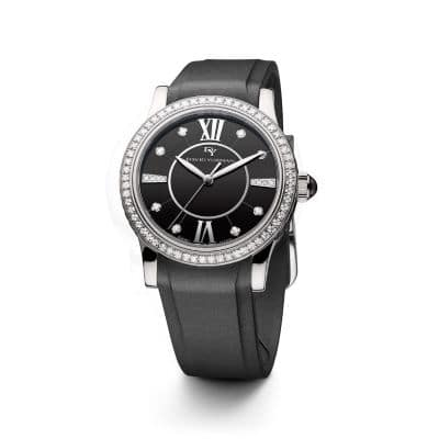Classic 34mm Rubber Swiss Quartz Watch with Diamonds