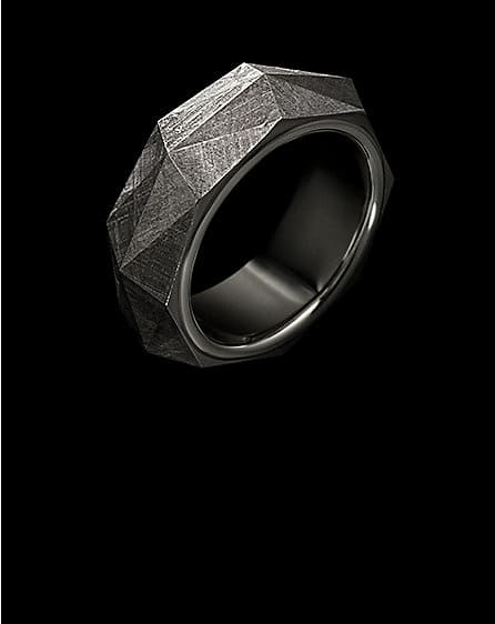 Faceted band in sterling silver with meteorite.