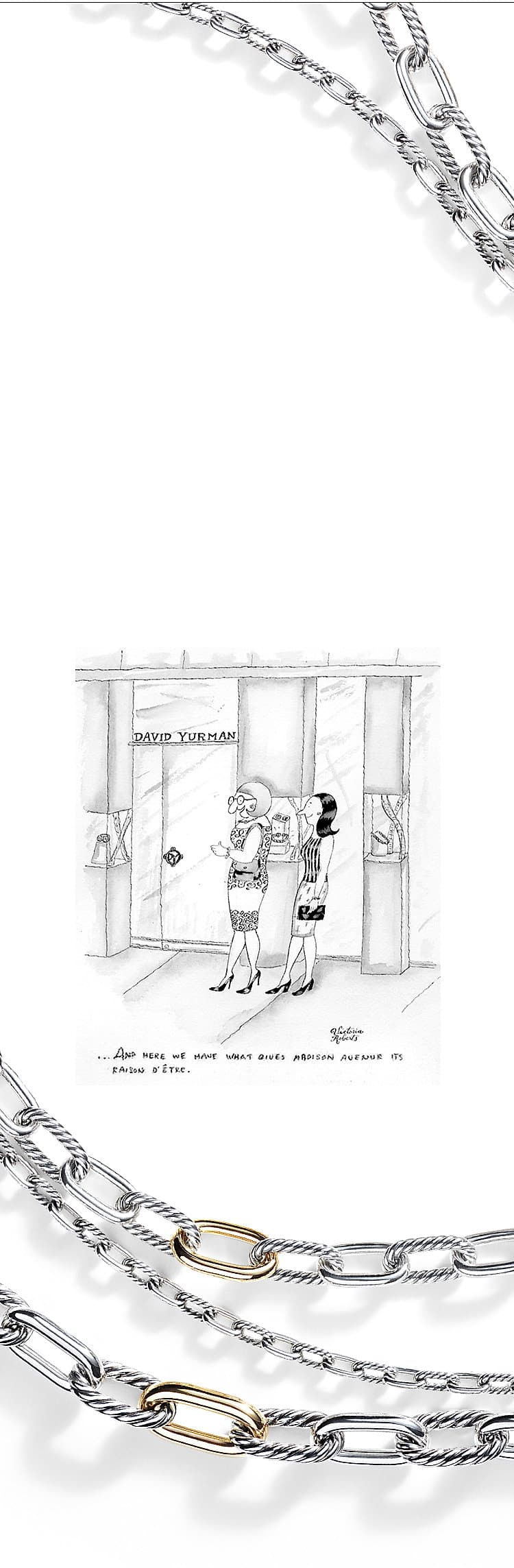 "A cartoon from ""The New Yorker"" depicting two women in front of the David Yurman store on Madison Avenue."