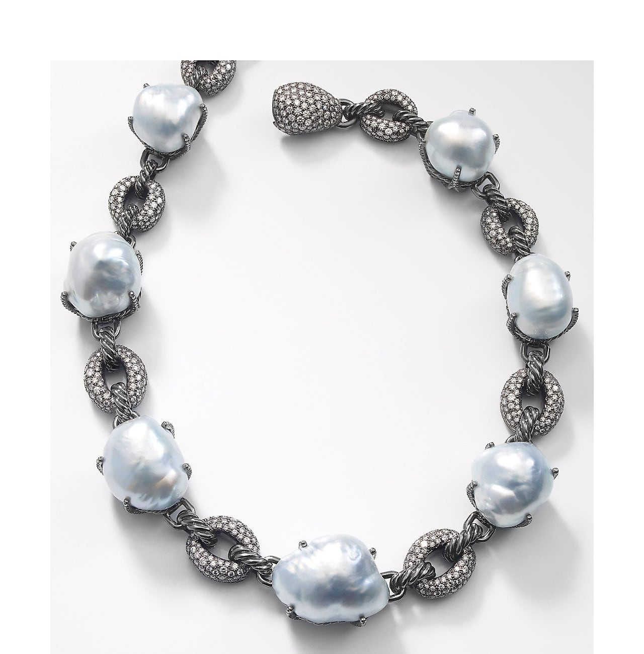 A David Yurman South Sea Baroque Pearl and Diamond Necklace.