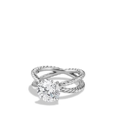 Crossover Engagement Ring in Platinum Round
