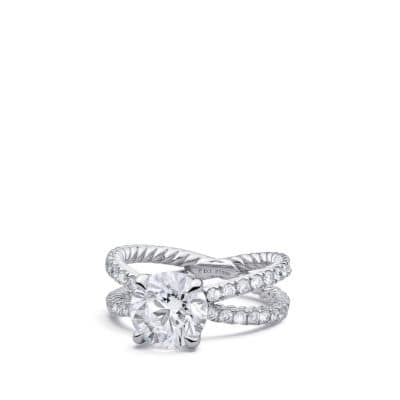 DY Crossover Pave Engagement Ring in Platinum, Round thumbnail