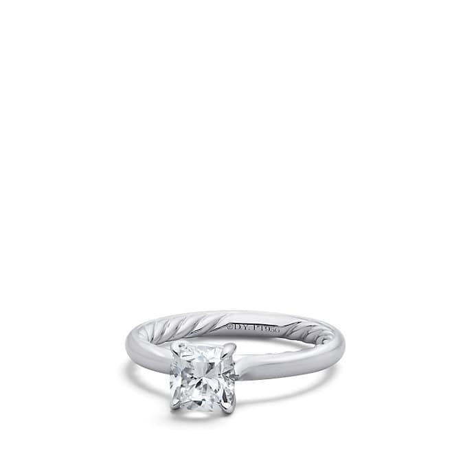 DY Eden Solitaire Engagement Ring in Platinum, Cushion