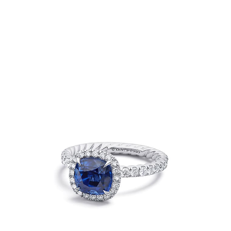 DY Capri Engagement Ring with Blue Sapphire in Platinum, DY Signature Cut