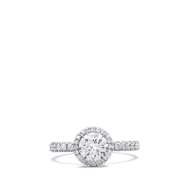 DY Capri Pave Engagement Ring in Platinum, Round