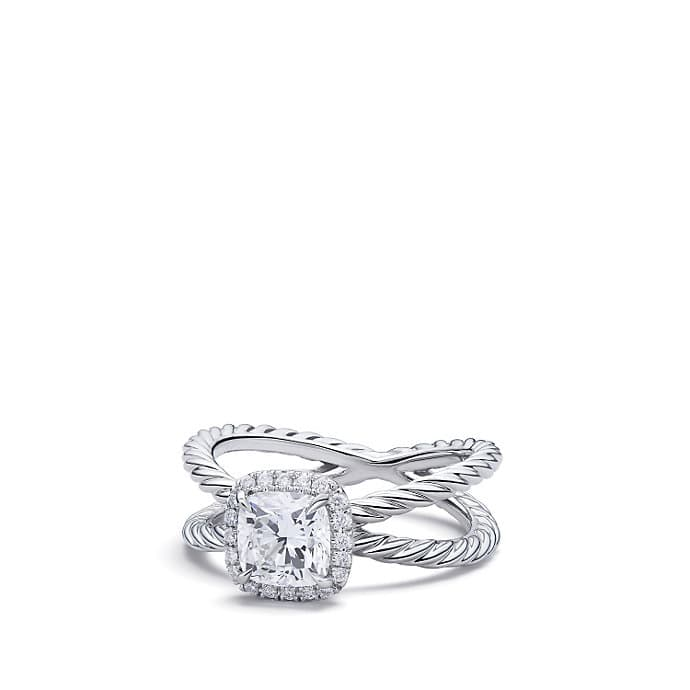 DY Crossover Capri Engagement Ring in Platinum, Cushion