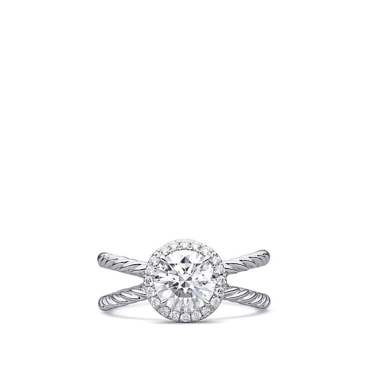 DY Crossover Capri Engagement Ring in Platinum, Round