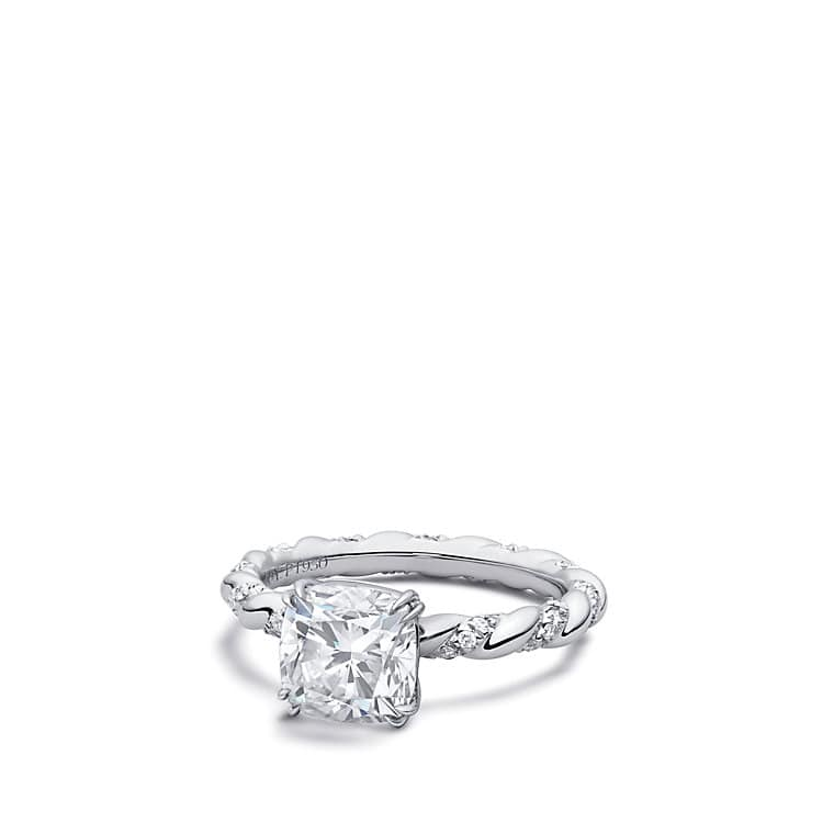 Excellent DY Unity Engagement Ring in Platinum, Cushion FK27