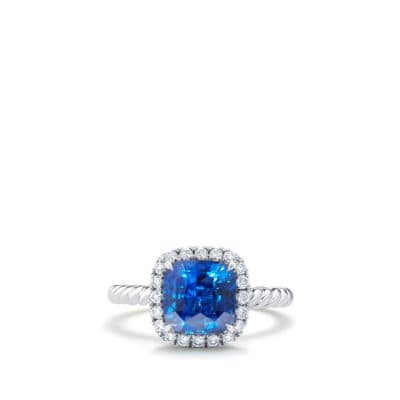 DY Capri Engagement Ring with Blue Sapphire, DY Signature Cut