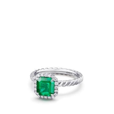 DY Capri Engagement Ring with Emerald in Platinum, DY Signature Cut