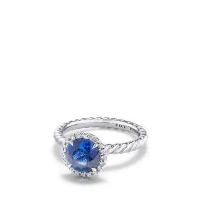 DY Capri Engagement Ring with Blue Sapphire in Platinum, Round