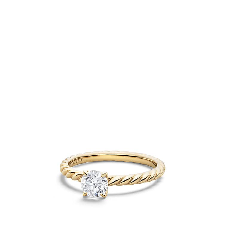 Well known DY Unity Petite Cable Engagement Ring in 18K Gold, Round RT56