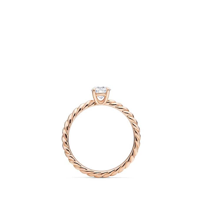 DY Unity Petite Cable Engagement Ring in 18K Rose Gold, Round