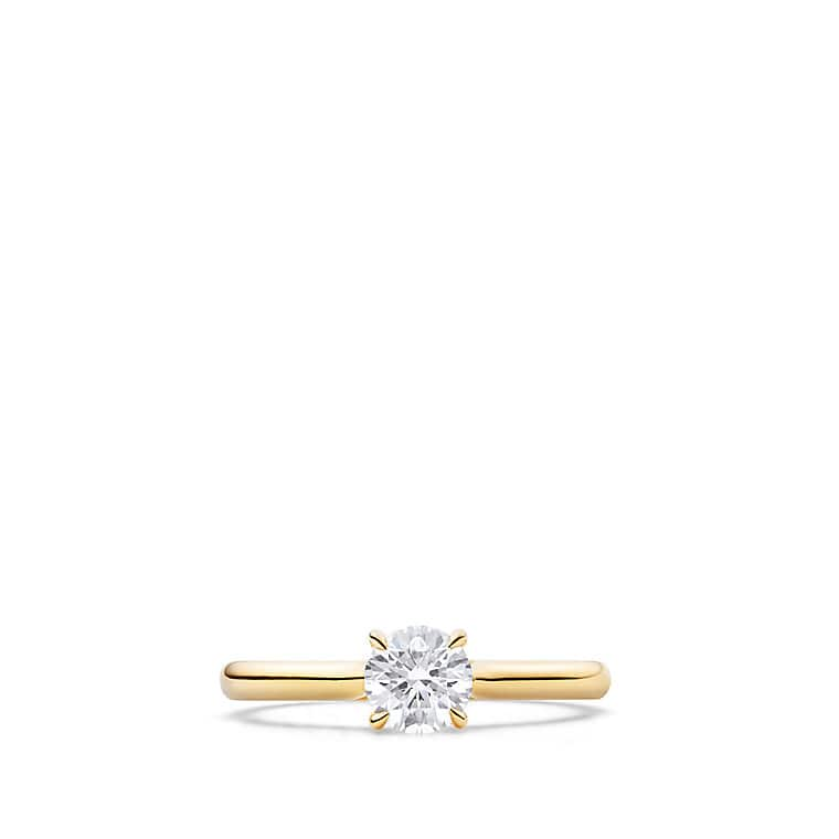 DY Eden Petite Solitaire Engagement Ring in 18K Gold, Round