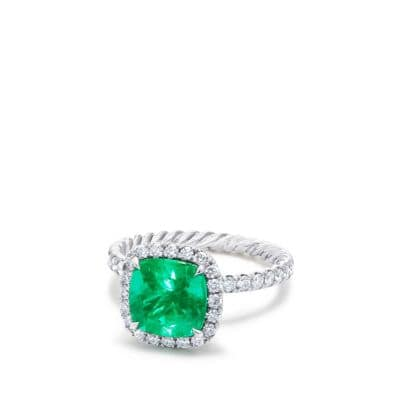 DY Capri Pavé Engagement Ring with Emerald in Platinum, DY Signature Cut