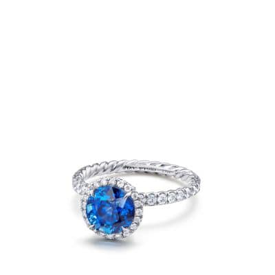 DY Capri Pavé Engagement Ring with Blue Sapphire in Platinum, Round