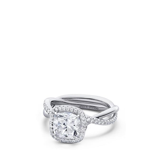 DY Lanai Engagement Ring with Diamonds in Platinum, DY Signature Cut