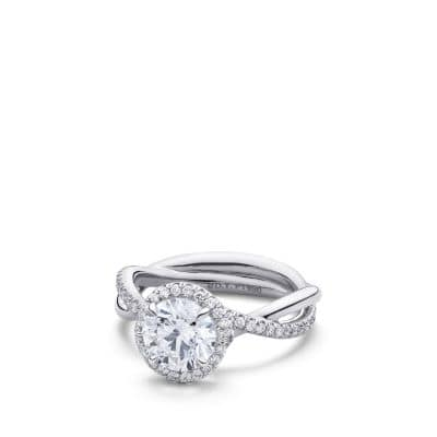 DY Lanai Engagement Ring with Diamonds in Platinum, Round thumbnail