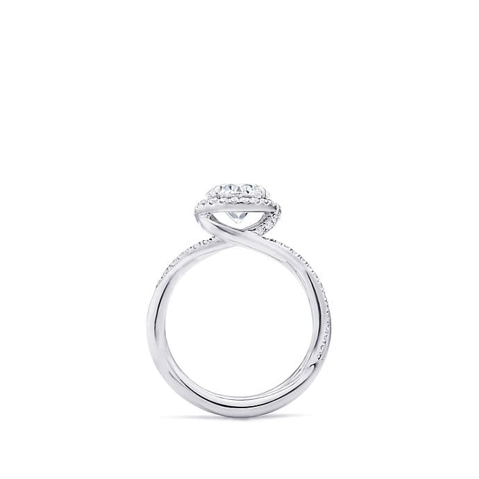 DY Lanai Engagement Ring with Diamonds in Platinum, Round