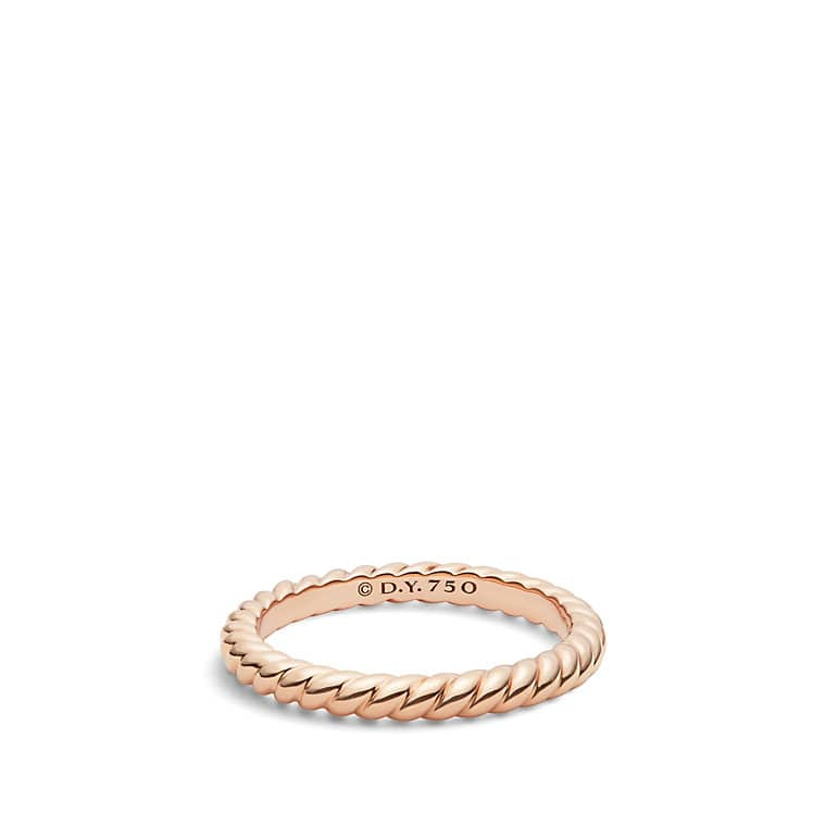 DY Unity Cable Wedding Band In 18K Rose Gold 245mm