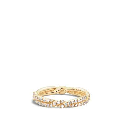 DY Wisteria Wedding Band with Diamonds in 18K Gold, 3mm