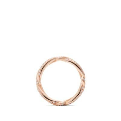 DY Wisteria Wedding Band with Diamonds in 18K Rose Gold, 3mm