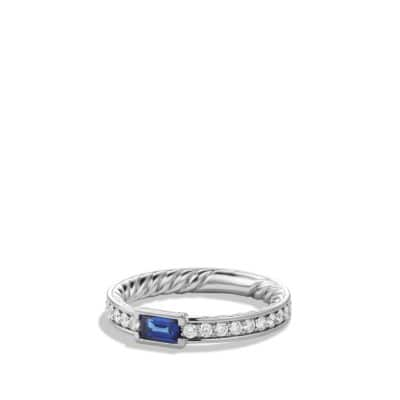 Wedding Band in Platinum with Sapphire and Diamonds