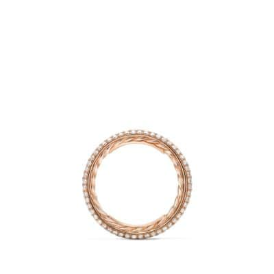Wedding Band with three-rows Diamonds in 18K Rose Gold