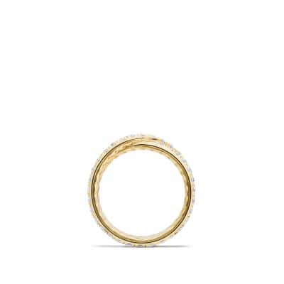 DY Crossover Wedding Band with Diamonds in 18K Gold, 5.2mm