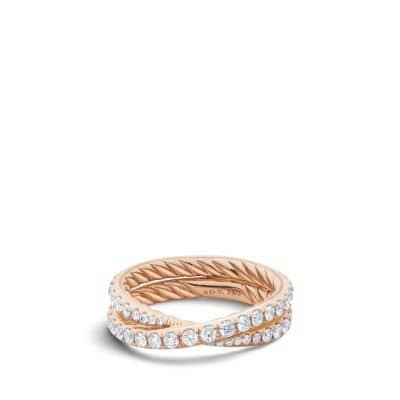 DY Crossover Wedding Band with Diamonds in 18K Rose Gold, 5.2mm