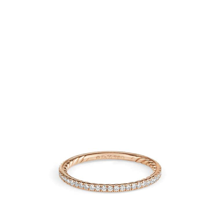 DY Eden Single Row Wedding Band with Diamonds in 18K Rose Gold, 1.55mm