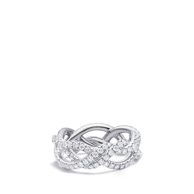dy wisteria wedding band with diamonds in platinum 7mm