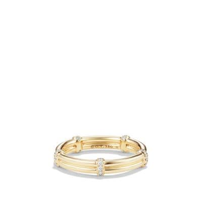 DY Astor Two Row Pavé Wrap Band with Diamonds in 18K Gold