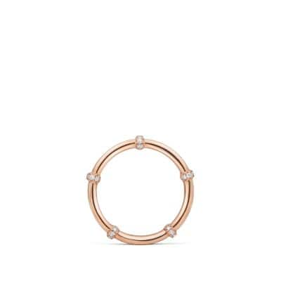 DY Astor Two Row Pavé Wrap Band with Diamonds in 18K Rose Gold