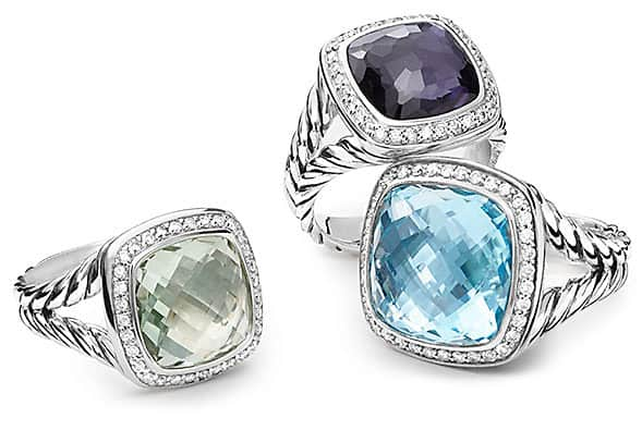 Sterling silver Albion gemstone rings with diamonds