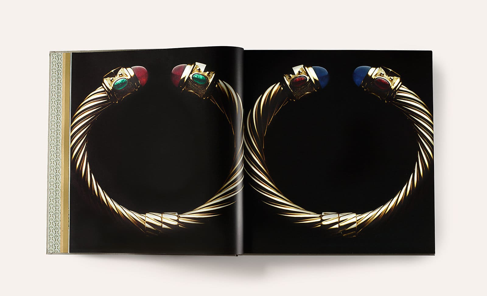 18k gold Cable bracelets with gemstone accents