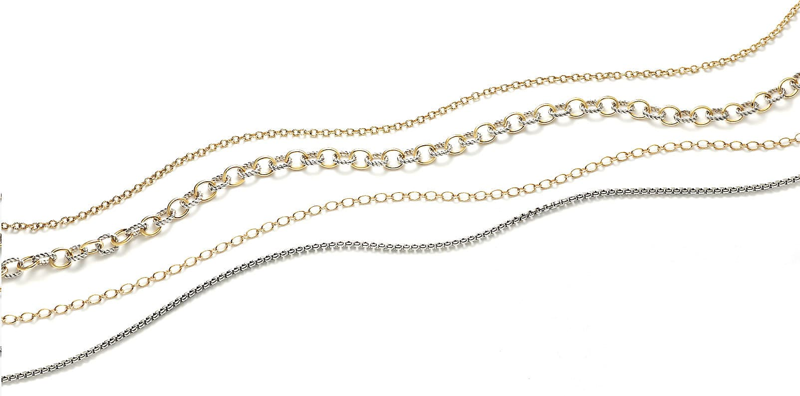 Layers of 18k yellow gold and sterling silver chains