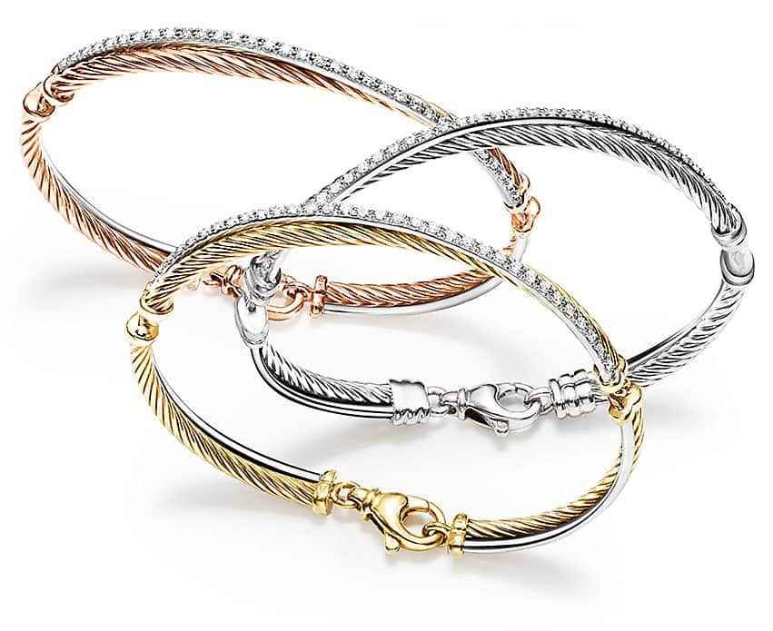 Rose gold, sterling silver and 18k yellow gold Crossover bracelets with diamond accents
