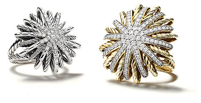 Sterling silver and 18k yellow gold Starburst rings accented with brilliant diamonds