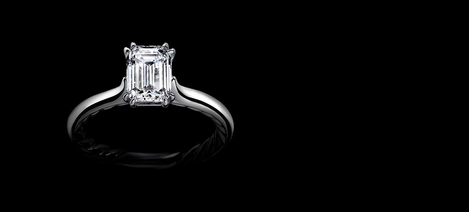 DY Lanai engagement ring in platinum with diamonds.