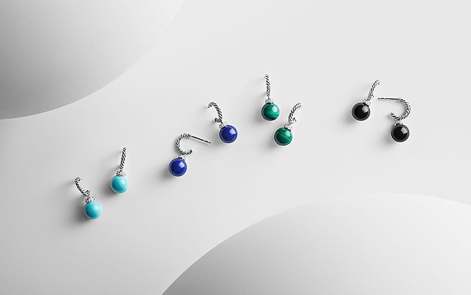 Pairs of colorful Solari drop earrings